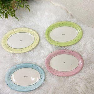 Rae Dunn by Magenta Rare Pastel Dot Oval Plates